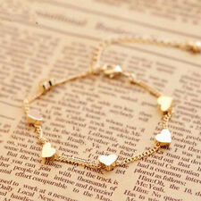 Women Girls Elegant Trendy Lovely Heart Pendant Gold Chain Bracelet Anklet Hot