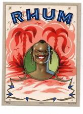 RHUM, black man, palm trees, dep 1060, M.v.d.H, original antique rum label #125