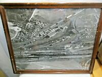 """vintage 1950's Train Yard B&W Photograph in Wood Frame with Glass 21.5""""x17.5"""" NR"""