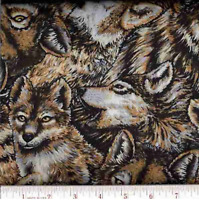 Wolves in the Wild Packed Wolf 100% Cotton Fabric by the Yard