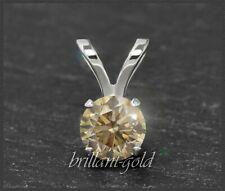 Anhänger 585 Gold, Diamant mit 0,15ct; champagner, Si; 14 Karat Weißgold NEU