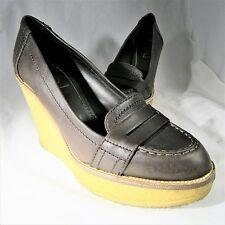 Womens YSL Yves Saint Laurent Penny Loafer Pumps Size 7.5M Platform Wedge Heels