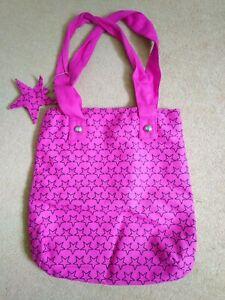 Girls Pink Canvas Tote bag - 36cm x 36cm - lined, inside zipped pocket