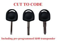 1x KEY WITH ID40 Chip for VAUXHALL Corsa Astra Agila Meriva - CUT TO CODE