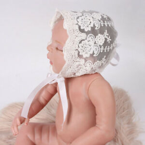 Baby Lace Bonnet Toddler Cotton Hat Infant Gauze Caps White