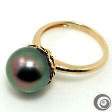 Elegant 14k Solid Gold Ring with Genuine PEACOCK Tahitian South Sea Pearl #R232