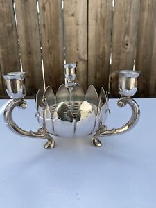 VTG LEONARD Brass Plated Lotus Centre Piece Flower/Candle Holder