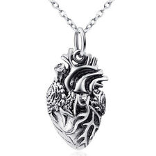 Real 925 Sterling Silver Charm Gift Anatomical Human Forever Love Heart Necklace