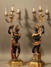 "PAIR XXL 31"" Wood carved Venetian Blackamoor statue lamps chandelier polychrome"