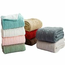 Knitted Blanket Throws Solid Color Portable Reversible Sofa Bed Acrylic Blankets