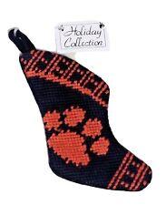 Clemson University Stocking Christmas Ornament Tigers Needlepoint New