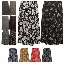 New Womens Elasticated Waist Ladies Printed Midi Skirt Plus Size 12-26