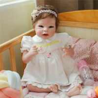 22inch Lifelike Handmade Reborn Silicone Babies Girl Doll Toddler Soft Body Doll