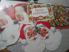 Merry Christmas Santa Diecut lot face sign decoration holiday 7pc
