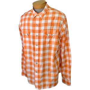 Polo Ralph Lauren Pearl Snap Shirt XXL 2XL Orange White Western Long Sleeve EUC