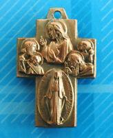 #3040# Vintage Croix religieuse en N.Dame en bronze / Insigne pendentif