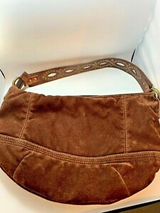 Beautiful Fossil Brown Corduroy Bag w Detailed Leather Strap- FOSSIL