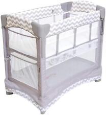 Arm's Reach Mini Ezee 2 IN 1 Baby Co-Sleeper Bedside  Bassinet Grey Chevron New