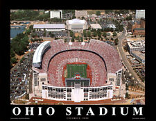 Rare OHIO STATE BUCKEYES HORSESHOE Football Stadium Aerial View Poster Print