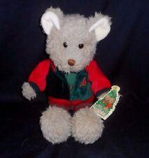 VINTAGE CHRISTOPHER & HOLLY BROWN TEDDY BEAR CHRISTMAS STUFFED ANIMAL PLUSH TOY