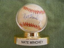 NATE MINCHEY AUTOGRAPHED SIGNED BASEBALL Colorado Rockies Red Sox Pitcher
