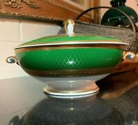 "Rosenthal Aida Principessa Emerald Green w/Gold 9"" Covered Vegetable Bowl #3032"