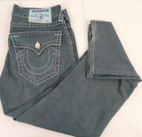 "Men True Religion Jean17.5"" 32 x30 Waist Black Distressed Straight  Flap Pocket"