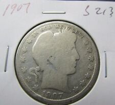 1907 Silver Barber  Half Dollar 90%~~Nice Key Coin~~FREE Ship~~Coins Lot #S213