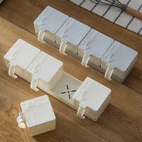 Kitchen Container Condiment Salt Seasoning Box Set Dispenser Spice Jar White