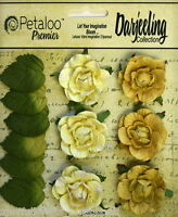 YELLOW Flowers 6 Paper GARDEN ROSETTE 35mm & 6 Leaves 25x30mm Darjeeling Petaloo