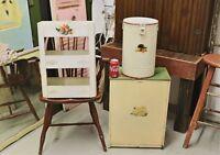 3-Pc Set Vintage Kitchen Metal Bin, Round Container & Organizer