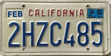 GENUINE American California February 93 USA License Licence Number Plate 2HZC485