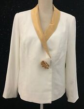Midnight Velvet Blazer Womens Sz 12 Jacket White w Gold Trim Flower Lined NWT