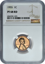 :1955 1C LINCOLN CENT RARE NGC PF-68-RD PROOF RED LOW-POP HIGH-GRADES