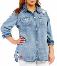 REBA Americana Patch Denim Shirt Womens Plus Size 1X NWT $98