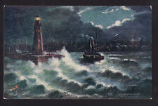 c1910 Tuck rough seas lighthouse Anstruther Scotland Uk postcard