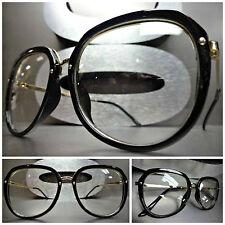 Men's Women VINTAGE RETRO NERD Clear Lens EYE GLASSES Black & Gold Fashion Frame
