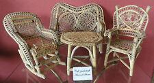 Puppenmöbel Korb- Rattanmöbel Sitzgruppe Gartenmöbel Schaukelstuhl, England 1920