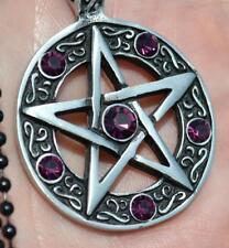 Pentagram pentacle occult wicca witch wiccan pewter pendant necklace purple