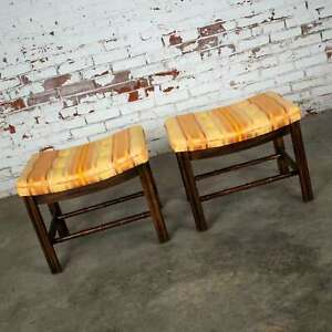 Chinese Chippendale Pair Foot Stools in Orange & Yellow Stripe Upholstery