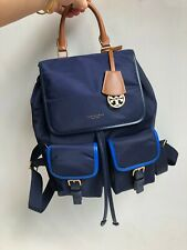 TORY BURCH Perry Nylon Color-Black Flap Backpack Navy Blue Auth