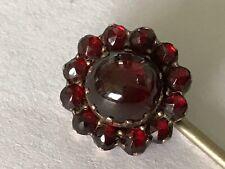 Antique Victorian 1890's garnet gold flower stick pin brooch.