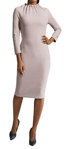 Marken Kleid mit gerafftem Stehkragen nude Gr. 42 1120644920