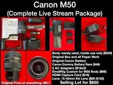 Canon EOS M50 Mirrorless Camera Bundle! Live Streaming Kit! 2 Batteries. Lens.