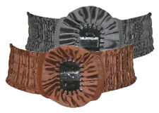 Ladies Girls Stretch Ruched Rosette Crinkle Belt