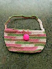 "Handmade Crochet - Large Doll Bag - 18"" Doll Or Larger...Pink Camo...New!"