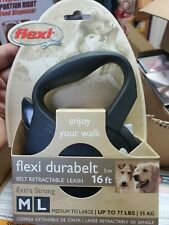 Fkexi Durabelt Retractable Black  Leash 16ft M-L Dogs NIB