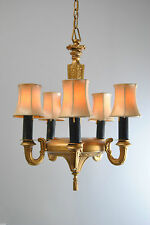 1920's Heavy Cast Metal Five Arm Chandelier Light Fixture in Gold Finish