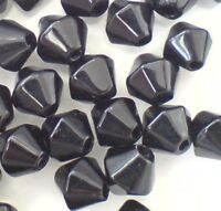 200 pieces 4mm Value Style Crystal Glass Bicone Beads - Black - A2408