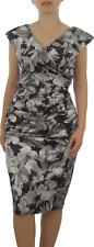 London Times Pewter Floral Portrait Collar Satin Dress - Size US 10 (AU 12/14)